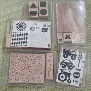 5 Stampin Up scrapbooking sets shapes hearts flora